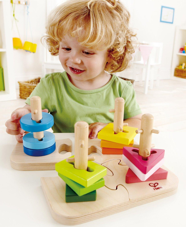 Puzzle sortare forme şi culori - jucărie lemn - Hape Germania