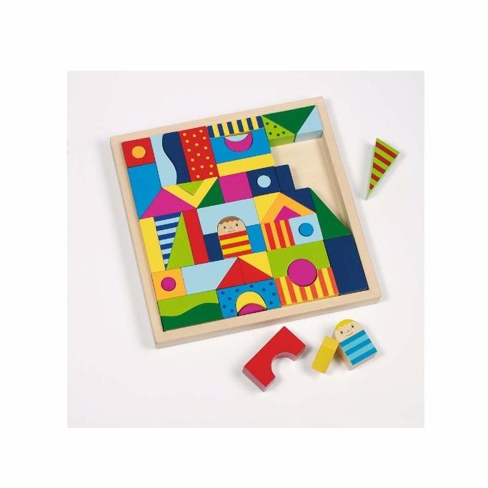 Build and Puzzle - cuburi constructii si puzzle lemn jucarie Goki