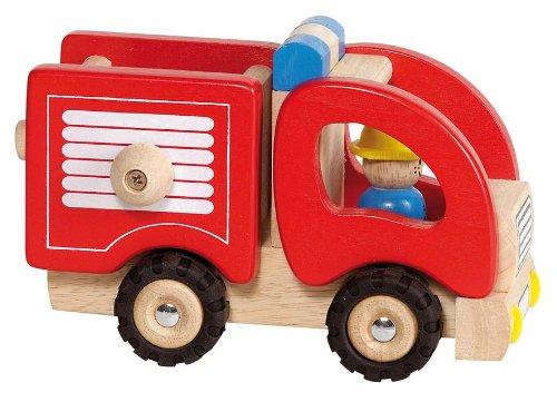 Masina de pompieri lemn natur jucarie premium Goki