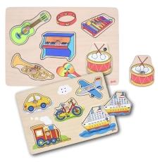 2x Puzzle Lemn Interactiv - Sunete de Instrumente şi Vehicule