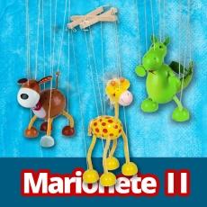 Marionete lemn - Girafă, Dinozaur, Căţeluş