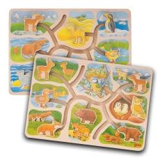 2x Puzzle Glisant Educativ Lemn - Unde vrea să meargă?