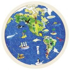 2x Puzzle Lemn circular - Unde trăiesc animalele?