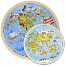 2x Puzzle Lemn circular -