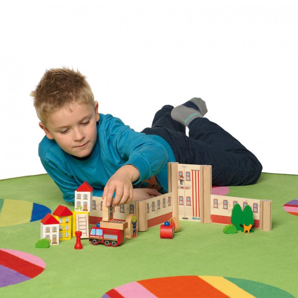 Statia de pompieri - jucarie lemn modulara copii - Erzi Germania 6