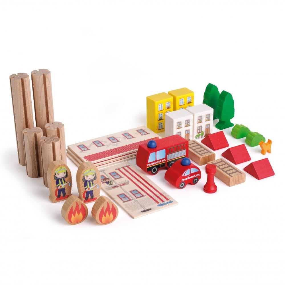 Statia de pompieri - jucarie lemn modulara copii - Erzi Germania 3