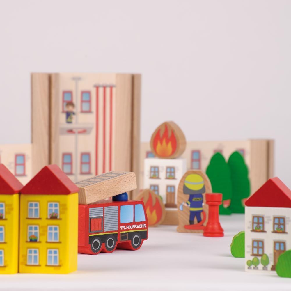 Statia de pompieri - jucarie lemn modulara copii - Erzi Germania 5