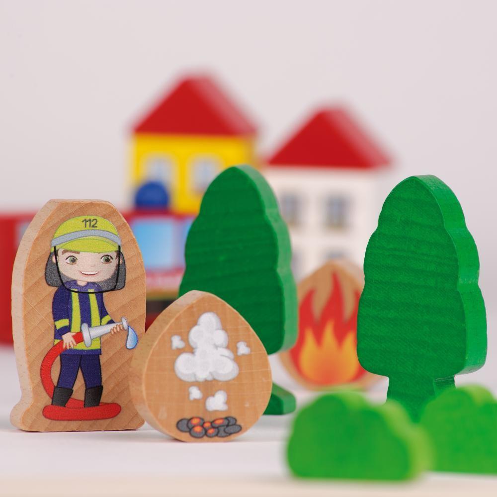 Statia de pompieri - jucarie lemn modulara copii - Erzi Germania 4