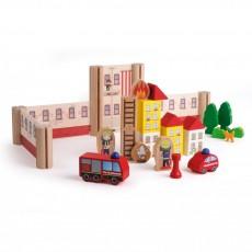 Staţia de pompieri - jucărie modulară lemn