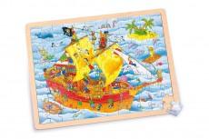 Puzzle Lemn XL - 96 piese - Corabia piraţilor