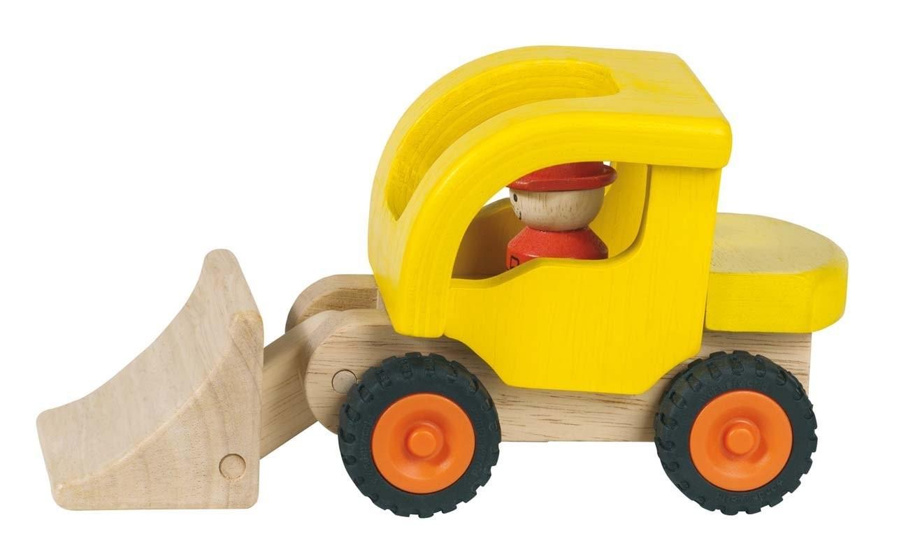 Masina buldozer lemn natur jucarie premium Goki