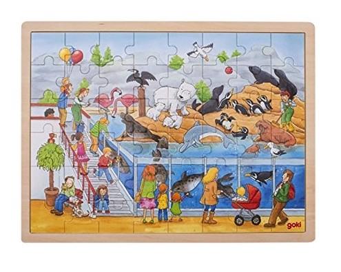 Vizita la Zoo - Puzzle lemn copii - 48 piese - Goki Germania