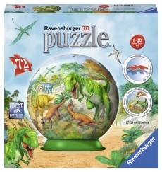 Puzzle 3D sferic: În lumea dinozaurilor, 72 piese