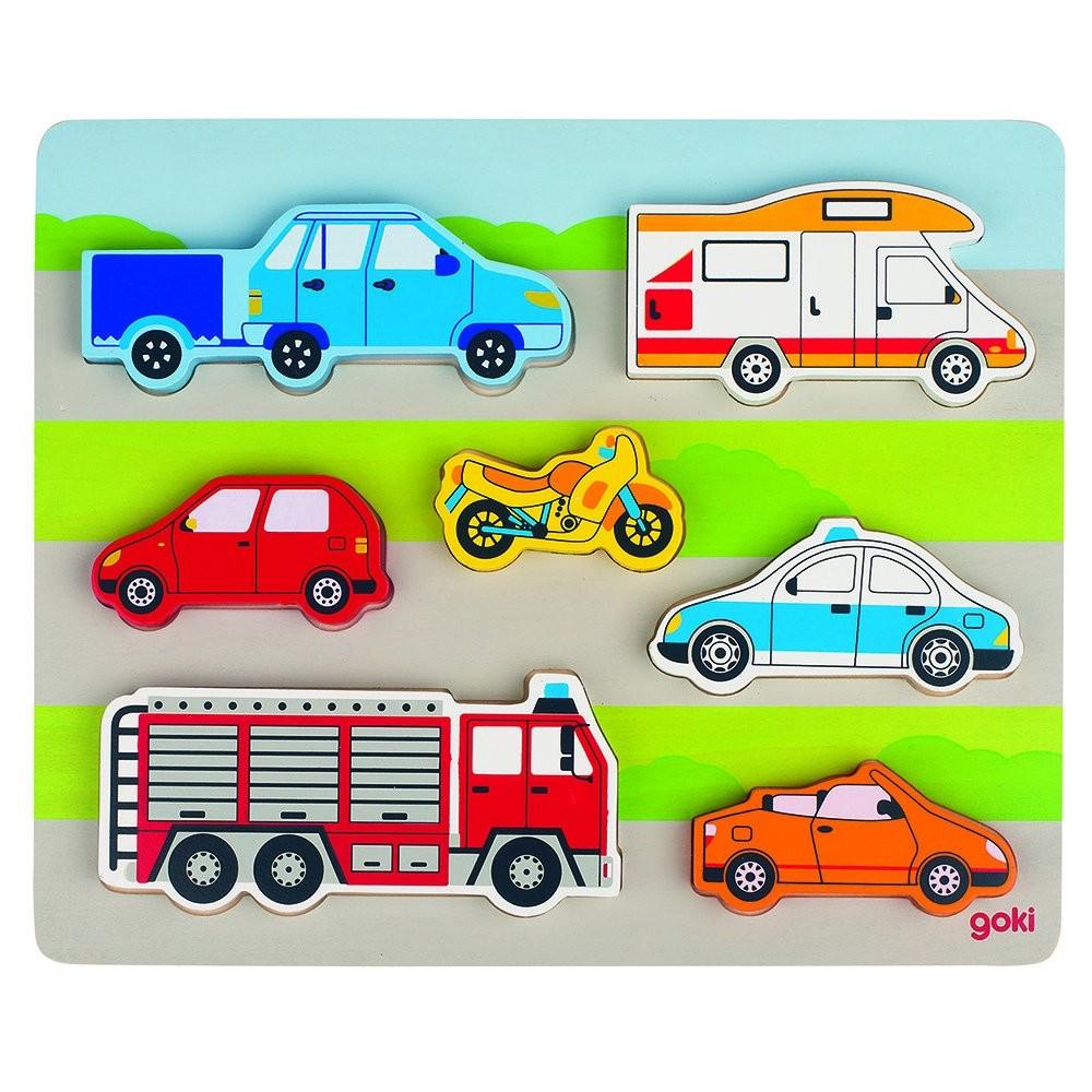 Puzzle potrivire lemn - figurine vehicule - Goki