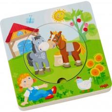 Puzzle rotund din lemn in 6 straturi - Prietenii de la fermă