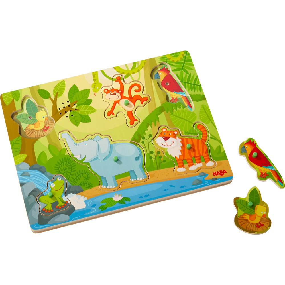 Puzzle muzical din lemn - Sunete din junglă - Haba - 303181 - 1