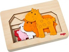 Puzzle din lemn in 6 straturi - Animale de la fermă