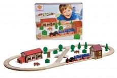 Set tren cu șină ovală din lemn