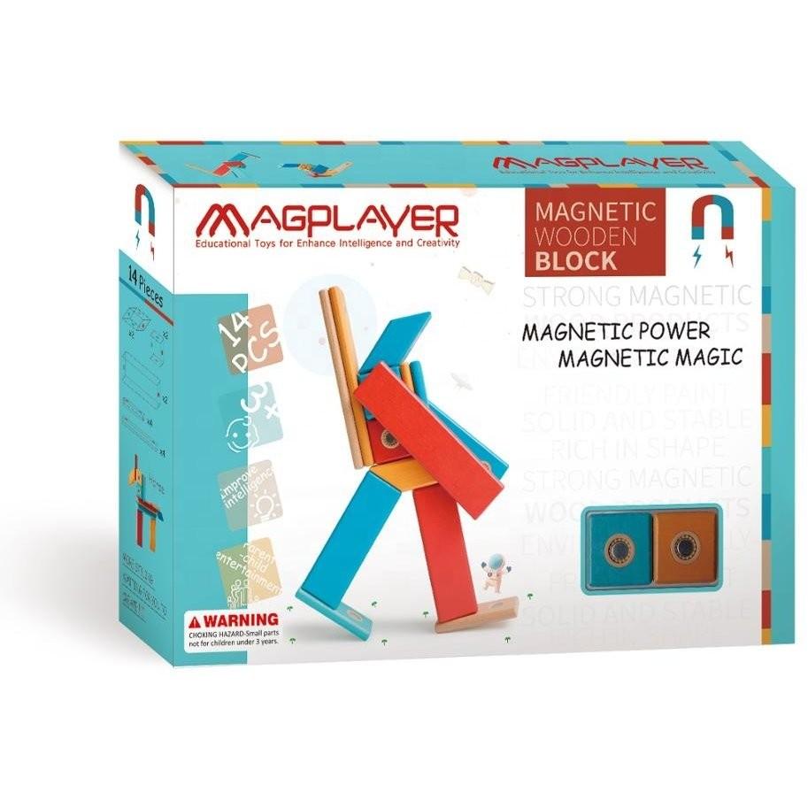 Construcţii magnetice din lemn - set 14 piese - Magplayer 1