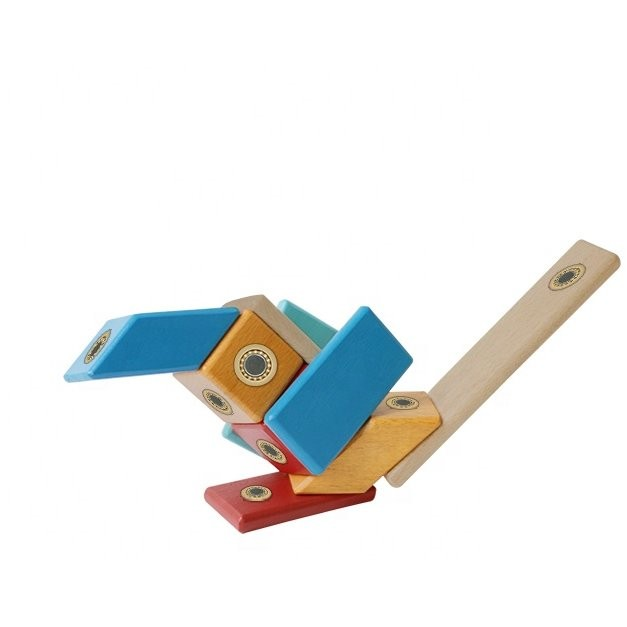 Construcţii magnetice din lemn - set 14 piese - Magplayer 2