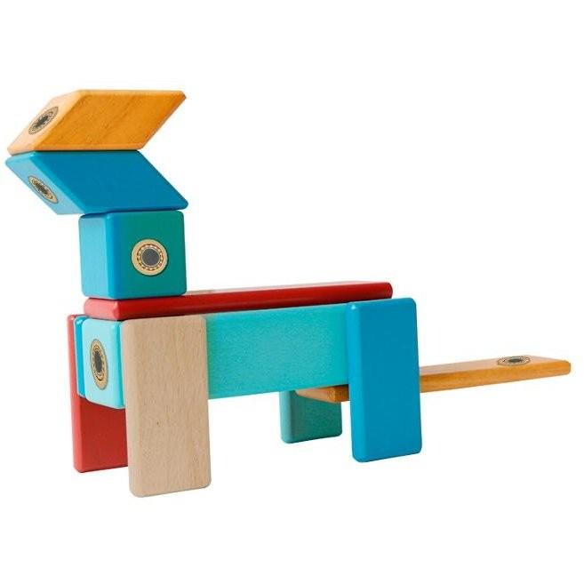 Construcţii magnetice din lemn - set 14 piese - Magplayer 5