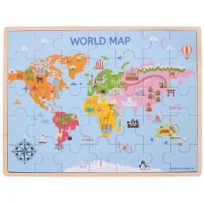 Harta lumii - Puzzle educativ lemn - Geografie